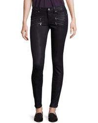 PAIGE Women's Edgemont Ultra Skinny Coated Jeans - Black Silk - Size 24 (0)
