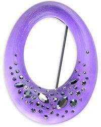 Alexis Bittar Women's Gunmetal-tone, Lucite & Crystal Oval Pin - Purple