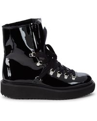 KENZO Shearling-lined Patent Leather Boots - Black