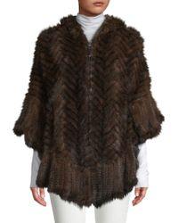 Belle Fare - Herringbone Knit Hooded Mink Fur Poncho - Lyst