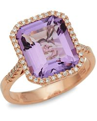 Effy 14k Rose Gold, Pink Amethyst & Diamond Ring - Multicolor