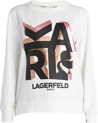 Karl Lagerfeld Block Letter Karl Sweatshirt - White