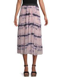 Wdny Accordion Pleated Tie-dye Midi Skirt - Pink