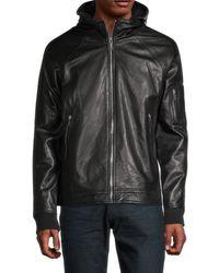 Karl Lagerfeld Men's Hooded Leather Jacket - Black - Size L