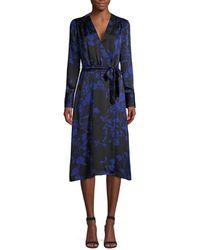 Equipment Women's Cherylene Floral Wrap Dress - Deep Blue - Size 0