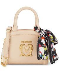 Love Moschino Scarf Logo Crossbody Bag - Natural