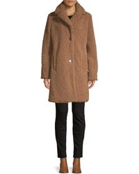 Pure Navy Faux Fur Teddy Coat - Natural