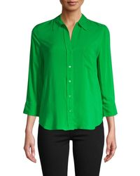 L'Agence Women's Three-quarter Sleeve Shirt - Marina - Size Xs - Green