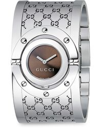Gucci Twirl Stainless Steel Monogram Bangle Bracelet Watch - Metallic