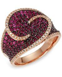 Effy Women's 14k Rose Gold, Ruby & Diamond Ring/size 7 - Size 7 - Red