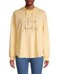 C&C California Women's Graphic Cotton-blend Hoodie - Mood Indigo - Size L - Multicolor