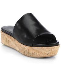 Stuart Weitzman - Flat-out Leather & Cork Flatform Slides - Lyst