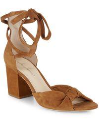 Isa Tapia - Carina Suede Block Heel Sandals - Lyst