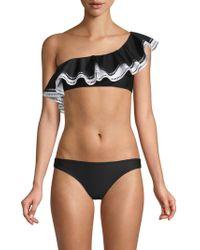 Mouillé Swimwear 2pc Natalie Asymmetric Tiered Bikini - Black