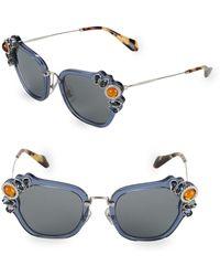 Miu Miu - Crystal Embellished 51mm Cateye Sunglasses - Lyst
