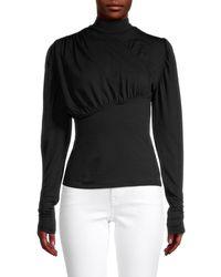 Lea & Viola Women's Mockneck Puffed-sleeve Top - Black - Size S