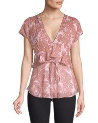 Diane von Furstenberg Millie Silk-blend Daisy Print Peplum Top - Pink