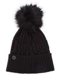 Calvin Klein Faux Fur Pom-pom Beanie - Black