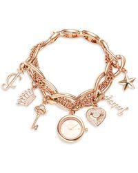 Juicy Couture Women's Rose Goldtone & Swarovski Crystal Charm Bracelet Watch - Multicolour