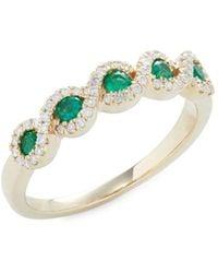 Saks Fifth Avenue Women's 14k Yellow Gold, Emerald & Diamond Ring - Size 7 - Green