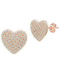Gabi Rielle - Pavé Puffed Heart Stud Earrings - Lyst