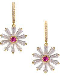 Gabi Rielle 22k Goldplated Cubic Zirconia Daisy Drop Earrings - Multicolour