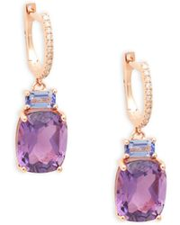 Effy 14k Rose Gold, Amethyst, Tanzanite & Diamond Drop Earrings - Multicolour