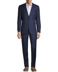 Saks Fifth Avenue Modern-fit Check Wool Suit - Blue