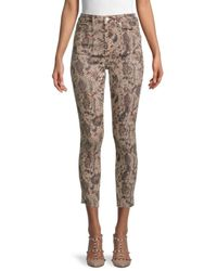 Free People High-rise Snakeskin-print Cropped Skinny Jeans - Multicolour