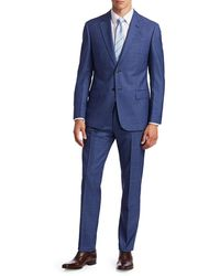 Emporio Armani Men's Plaid Virgin Wool Suit - Royal Blue - Size 56 (46) R
