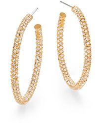 "Adriana Orsini Women's Pavé Crystal Hoop Earrings/1.25"" - Metallic"
