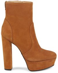 Schutz July Suede Leather Platform Boots - Brown
