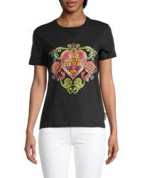 Versace Jeans Couture Women's Baroque Heart Logo T-shirt - Black - Size Xs