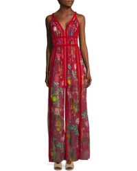 Tadashi Shoji - Floral Front Slit Floor-length Gown - Lyst