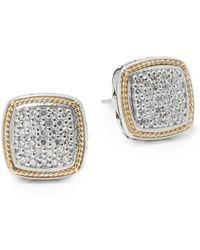 Effy - Diamond In 18k Gold & Sterling Silver Square Earrings - Lyst
