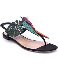 Valentino Tropical Dream Leather & Suede Thong Sandals - Multicolor