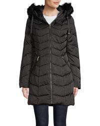 T Tahari - Faux Fur-trimmed Puffer Jacket - Lyst