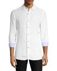 Report Collection Long-sleeve Linen Shirt - White