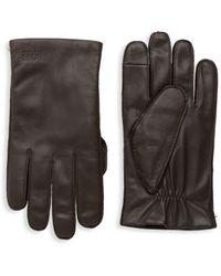BOSS by HUGO BOSS Kranton-4 Leather Tech Gloves - Brown
