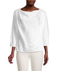 Donna Karan Gathered Boatneck Top - White
