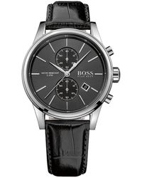 BOSS by Hugo Boss Men's Chrono Leather Wrist Watch - Black