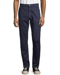 Saks Fifth Avenue Collection Five-pocket Cotton Chinos - Blue