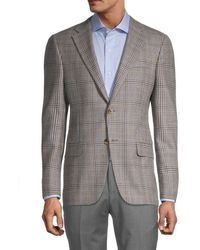 Hickey Freeman Men's Milburn Ii Regular-fit Check Wool Jacket - Brown - Size 42 R