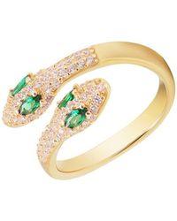 Gabi Rielle 14k Gold Vermeil & Cubic Zirconia Pavé Adjustable Snake Ring/size 7 - Metallic