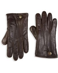 UGG Metisse Leather & Faux Fur Tech Gloves - Brown