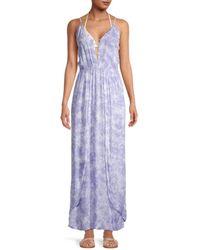 Tiare Hawaii Sway Tie-dye Maxi Coverup Dress - Purple
