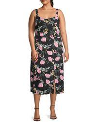 Vero Moda Women's Floral-print Scoopneck Front Slit Midi Dress - Black Multi - Size 12