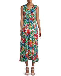 Calvin Klein Floral Midi Dress - Green