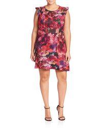 ABS By Allen Schwartz Plus Floral Printed Dress - Red
