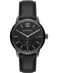Burberry - Black Ion-plated Stainless Steel Leather Strap Watch - Lyst